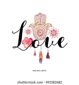 Love typography hand drawn with Hamsa sign ( Valentine's day love card)