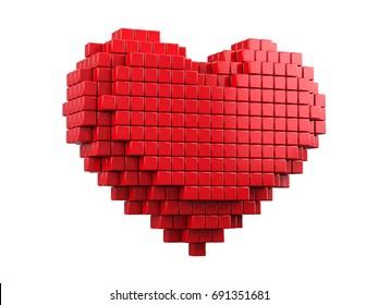 Love and Valentine Day concept. 3d pixel art heart - 3d render
