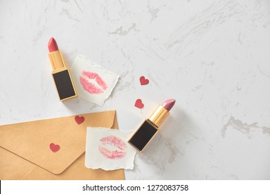 Love valentine together happy affection concept with lipstick and lipstick kiss mark