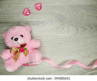 love valentine's day composition with hearts teddy bear copy space on wooden background