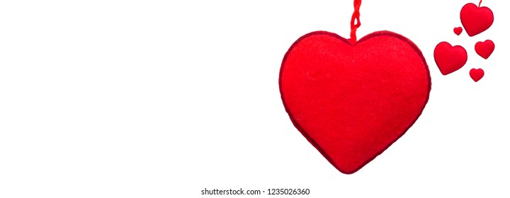Love and valentines day concept of red Flannel heart on isolate background.
