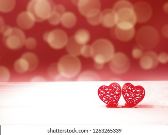 love valentine's day with hearts on bokeh blurs shiny background greeting card