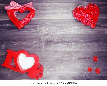 love valentine's day red heart gift copy space on wooden background