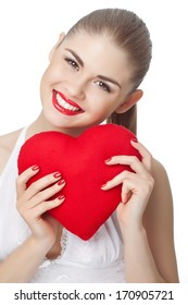 Love and valentines day woman holding heart smiling cute and adorable isolated on white background.