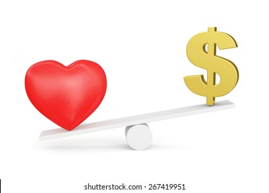 Love vs Money concept or Love vs Carrier concept. Love wins. Red heart and Dollar sign on scales isolated on white background