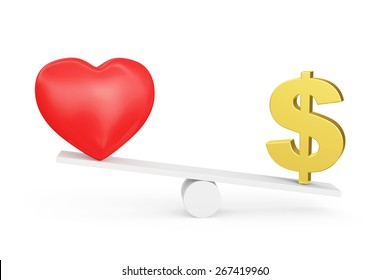 Love vs Money concept or Love vs Carrier concept. Carrier wins. Red heart and Dollar sign on scales isolated on white background