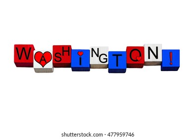 I Love Washington - sign series for American states, DC, Seattle, Vancouver, Tacoma, Spokane, The Evergreen State, USA - design / banner / word, national flag colors - isolated on white background.