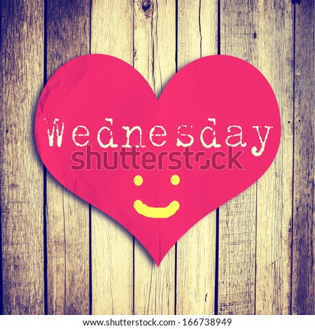 Love Wednesday On Red Heart Shape Stock Photo Edit Now 166738949