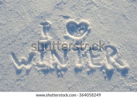 Love Winter Handwritten On Pure Snow Stockfoto Jetzt Bearbeiten