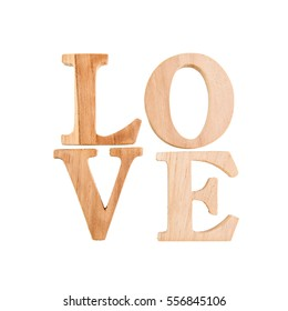 Love, Wood letters LOVE on White background, Capital wooden block letter alphabet symbols isolated over the white background