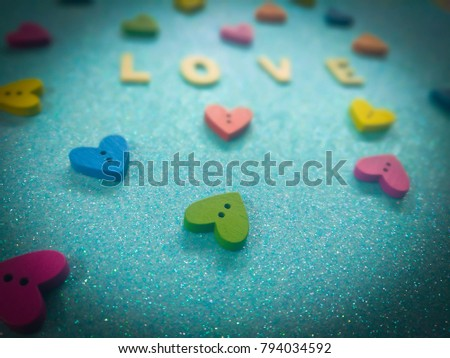 Love Wooden Letters Colorful Heart Shaped Stock Photo (Edit