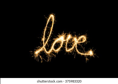 love word made of sparklers