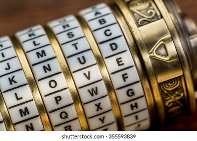 love word as a password to combination puzzle box with rings of letters