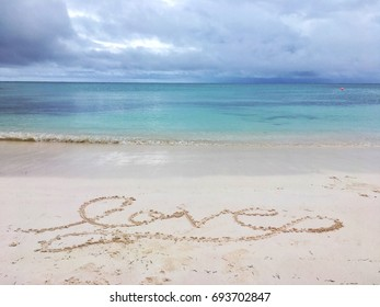 Love written in the sands of punta Cana where many people have anniversaries and beach weddings