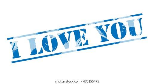 i love you blue stamp on white background