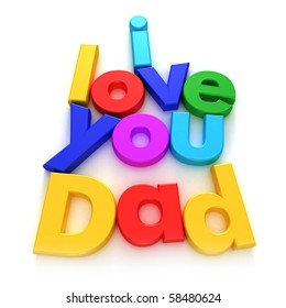 I love you Dad written with colourful letter magnets on neutral background