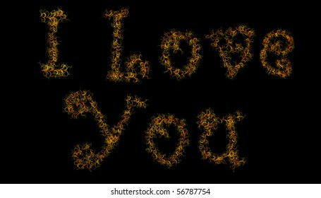 I Love You formed from plants