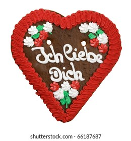I Love You gingerbread cookie. Typical souvenir of German culture in fairs and the famous Oktoberfest in Munich.