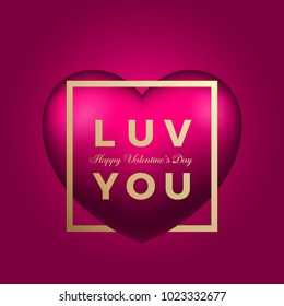 Love You Heart on Pink Background Romance Card. Golden Modern Typography Valentines Day Greetings in a Frame. Classy Poster. Raster Copy.