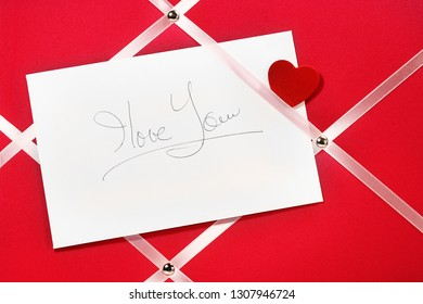 i love you message card handwriting on pinup board