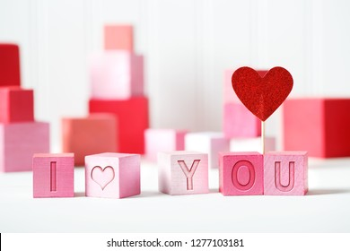 I Love You message with pink and red blocks with hearts