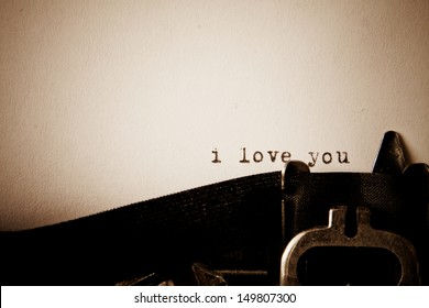I love you message type on old typewriter