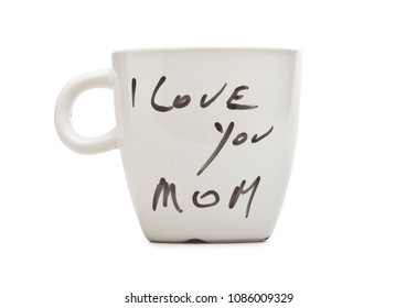 I love you Mom text on white mug isolated with clipping path