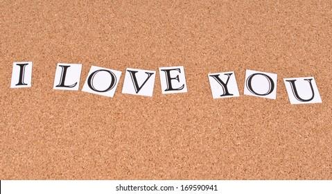 I love You on cork- board