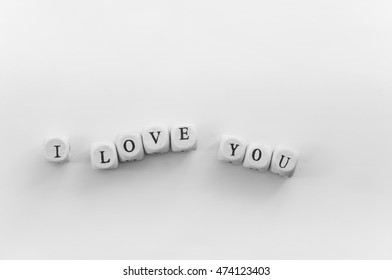 I love you phrase spelled by dice