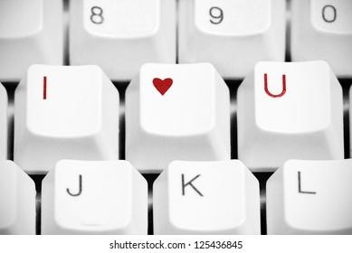 I love you sign made of computer keyboard keys