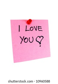 I love you sign on pink piece of paper, studio isolated.