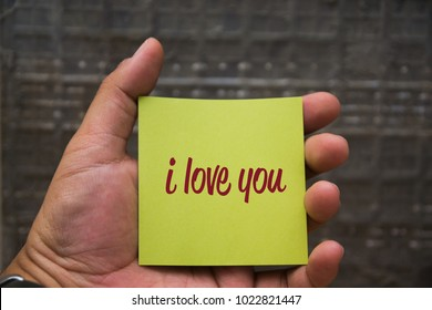 I LOVE YOU written on the sticky paper