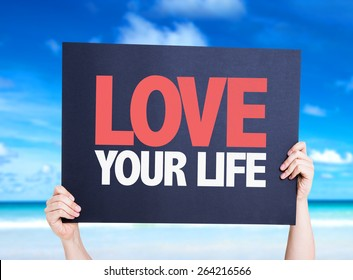 Love Your Life card with beach background