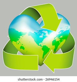 Love your environment? This icon depicts a world map on a heart encased in the recycling logo. Ideal for environmental campaigns.