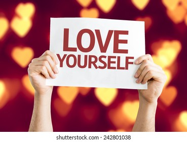 Love Yourself card with heart bokeh background