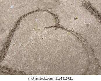 Loveheart on Sandy Beach