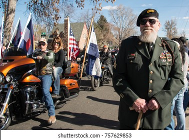 Loveland, CO - November 11-2017: US Army Ranger Veteran Sergeant John Watson during the annual Veterans Day Parade in Loveland, CO