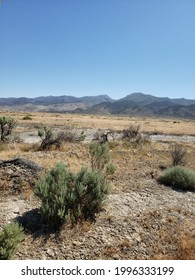 Lovelock, Nevada desert landscape with Humboldt Mountain Range in background.