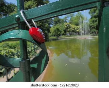 Lovelock on a metal bridge in Krakow