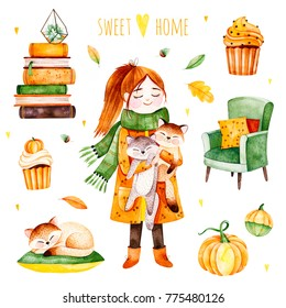 Lovely Autumn illustration with fall leaves,cozy chair,huge pile of books,cute animals, girl,pumpkins,hot drink,cupcakes.Watercolor Autumn set.Perfect for wallpaper,print,postcard design,invitations.