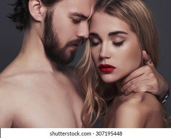 lovely beautiful couple portrait.romantic woman and handsome man.boy and girl together
