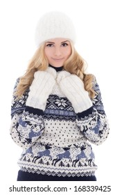 lovely beautiful girl in winter clothes isolated on white background