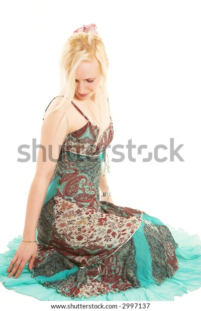 lovely blond in colorful dress over white