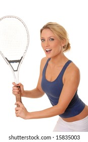 lovely blond girl with a tennis racket