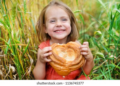 lovely blonde eating bread in a wheat field. little curly girl sports in the field