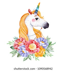 Lovely bouquet with peony,rose,leaves,flowers,branches and cute unicorn.Watercolor bouquets for your design.Perfect for wedding,invitations,blogs,template card,Birthday,baby shower,greeting,logos etc