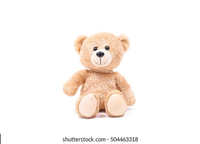 lovely brown teddy bear isolated on white background,mock up for card cerebration