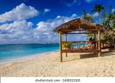 lovely cabana on golden sandy tropical beach
