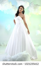 10d9ecba349 Lovely Caucasian Beautiful Woman bride in white wedding gown dress with  lace veil