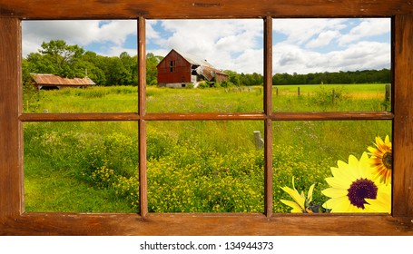 Lovely country landscape seen through an old farmhouse window.  Part of a series.
